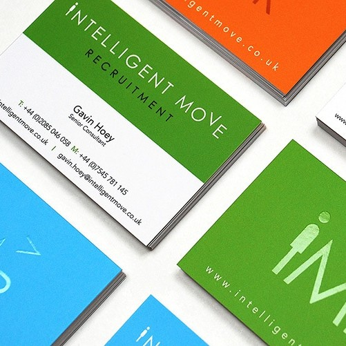 Green, orange and blue business cards designed for Intelligent Move Recruitment