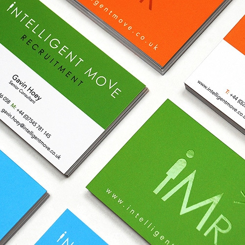 Close up of front and back of Intelligent Move Recruitment business cards Thumbnail