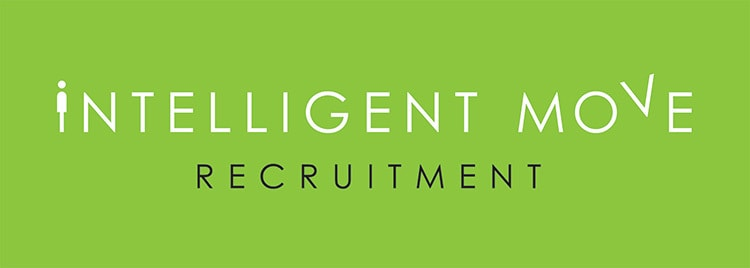 New landscape Intelligent Move Recruitment logo design with green background