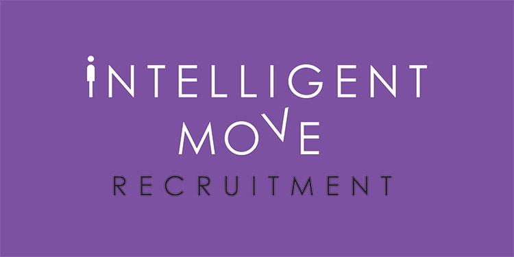New stacked Intelligent Move Recruitment logo design with purple background