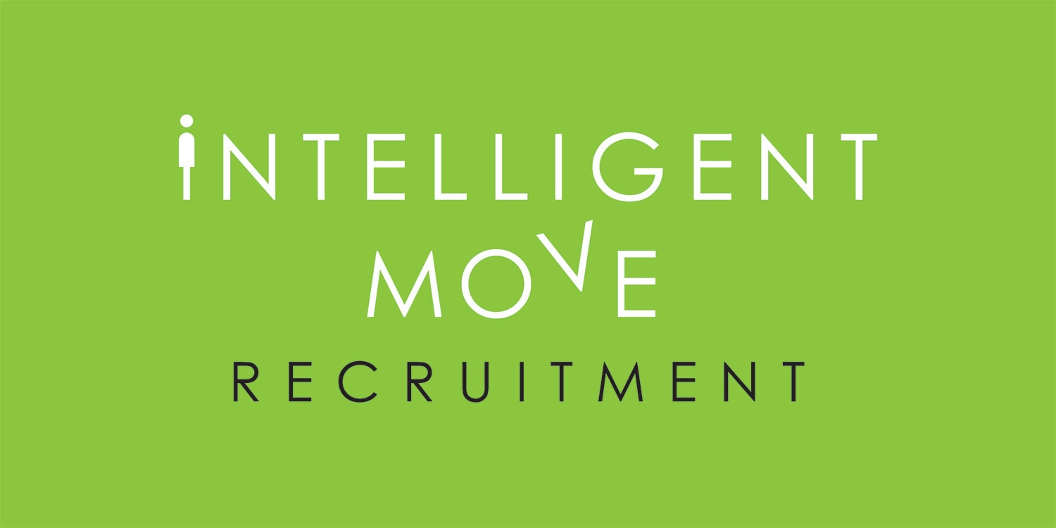 New stacked Intelligent Move Recruitment logo design with green background