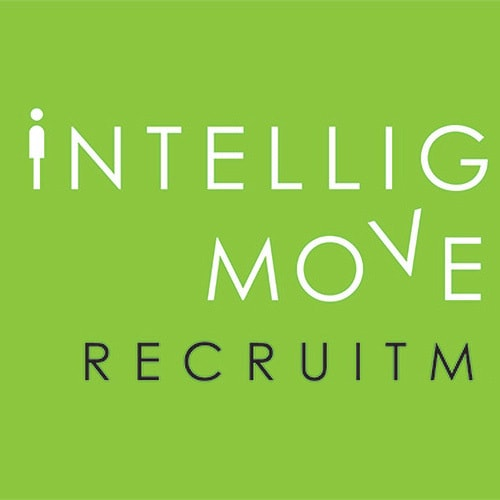 New stacked Intelligent Move Recruitment logo design with green background Thumbnail