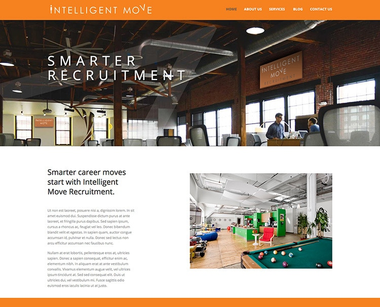 Homepage website design with Intelligent Move Recruitment branding and header