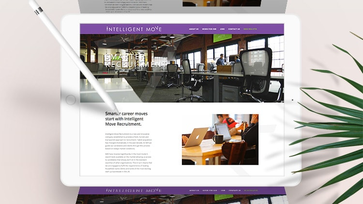 Tablet displaying the new Intelligent Move Recruitment responsive website design