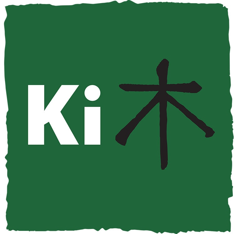Ki Agency symbol with rough paint brush effect branding design