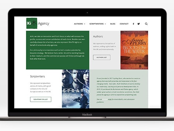 Laptop displaying home page of Ki Agency responsive website design