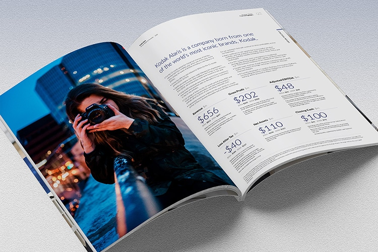 Spreads of 2020 Annual Report showing figures