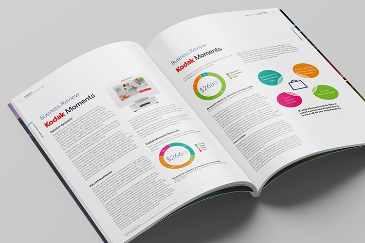 2020 Kodak perfect bound Annual Report spreads showing new designed charts and graphs print design Hero