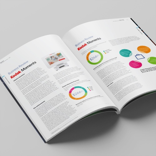 2020 Kodak perfect bound Annual Report spreads showing new designed charts and graphs print design Thumbnail