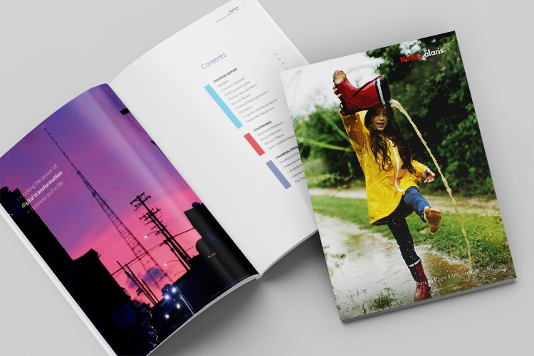 2020 Annual Report Spread showing table of contents and front cover hero