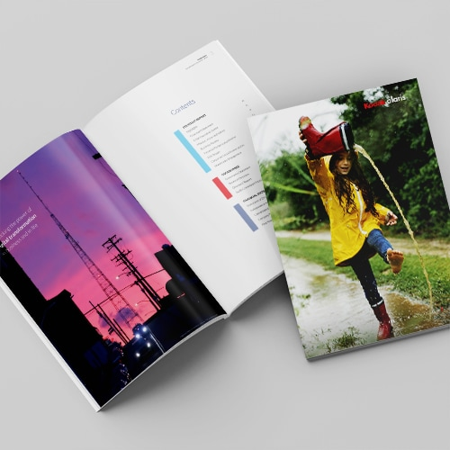 2020 Annual Report Spread showing table of contents and front cover thumbnail