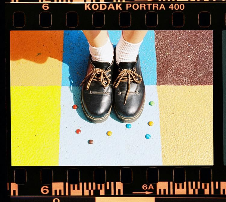 Sweets around Black shoes vintage black strip photo kodak