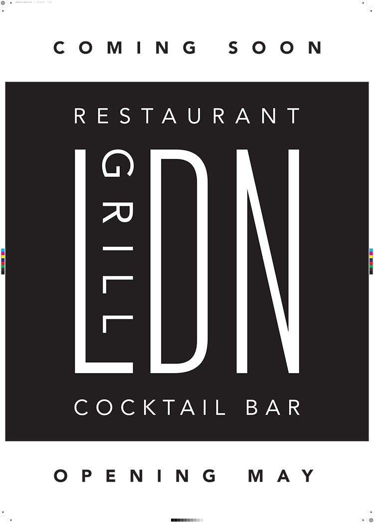 Coming soon A1 poster design for LDN Grill branding