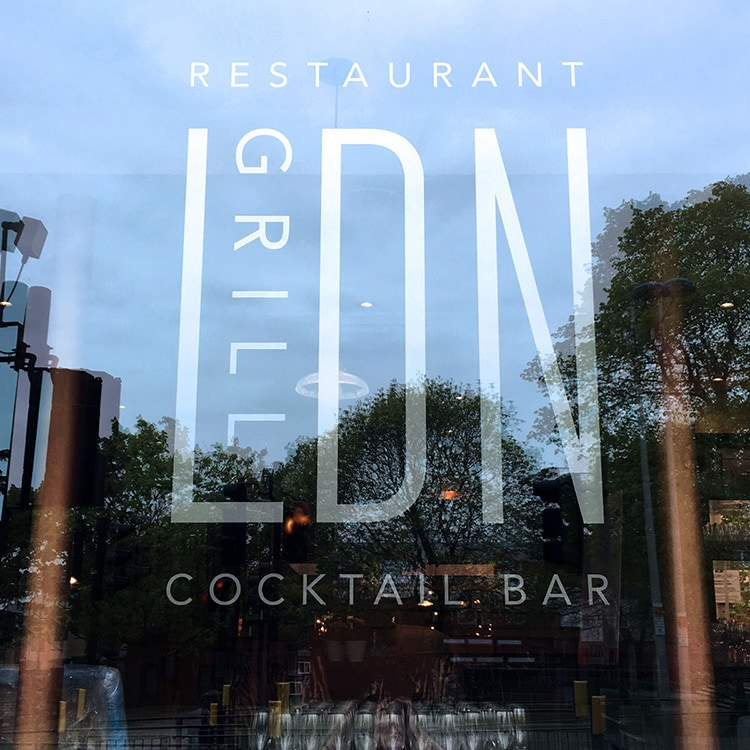 Window decal with LDN grill branding applied