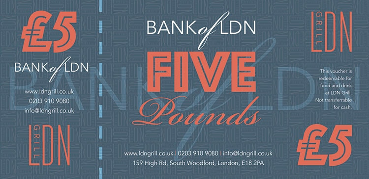 LDN Grill blue £5 voucher print design with repeat pattern branding