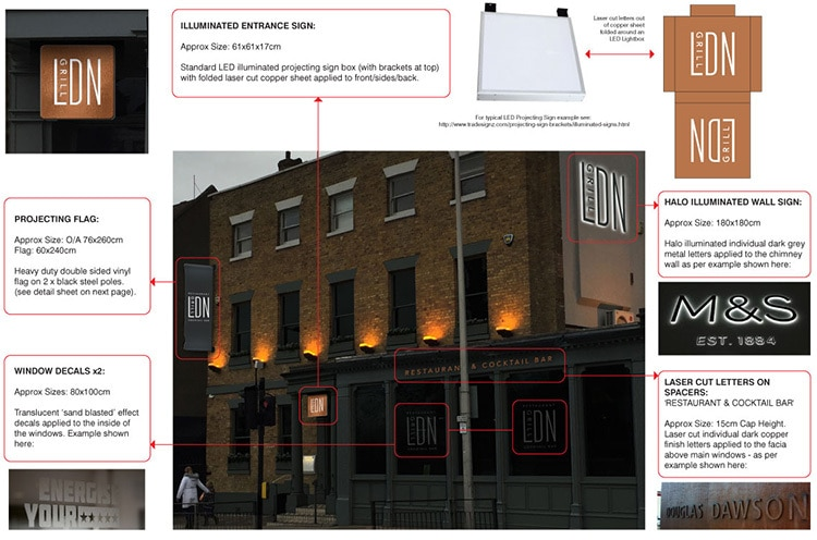 Signage specification for LDN Grill