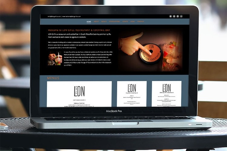 LDN Grill responsive website design on a laptop