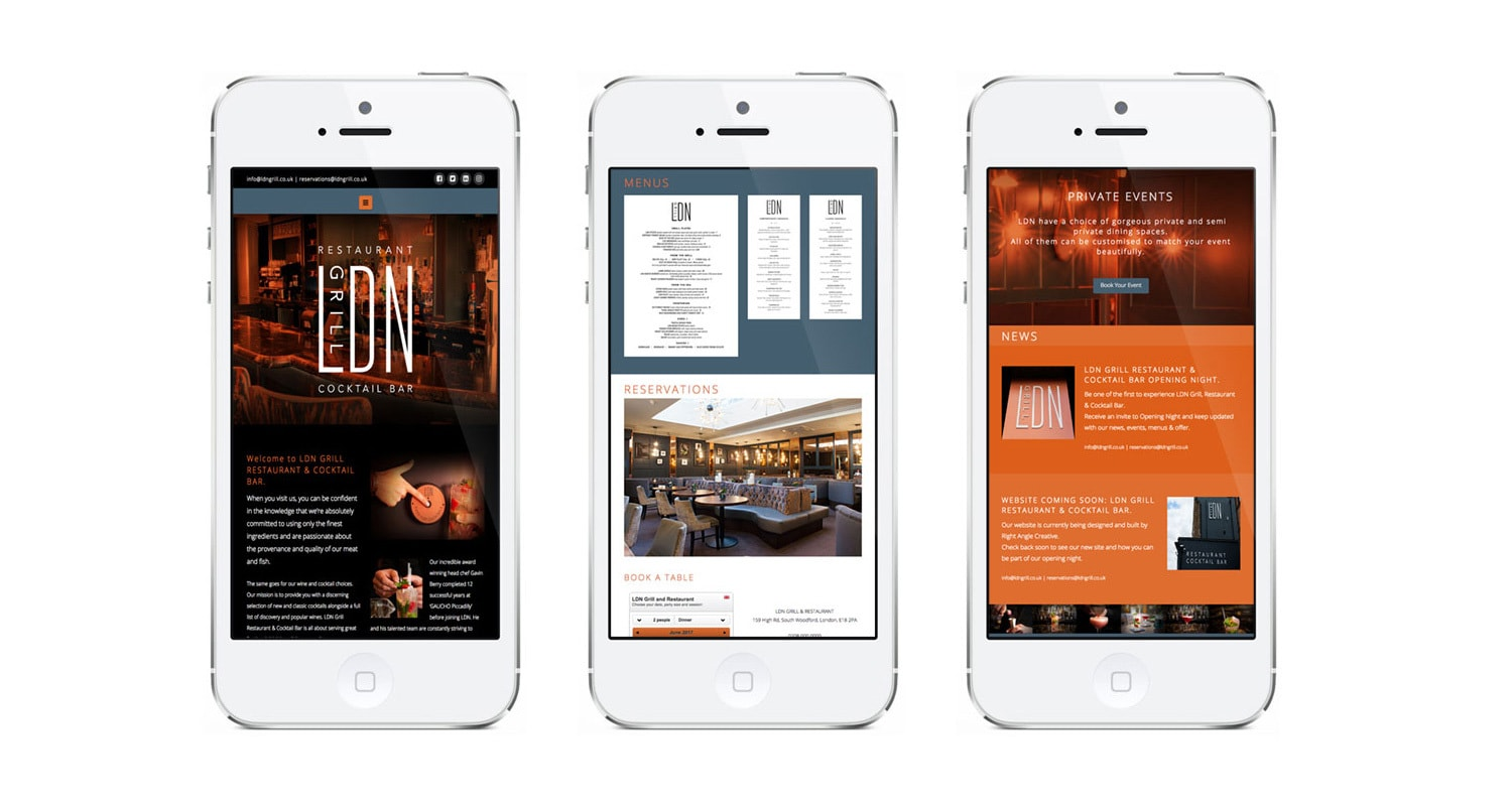 Mobile phones showing off different pages of the new LDN Grill responsive website design