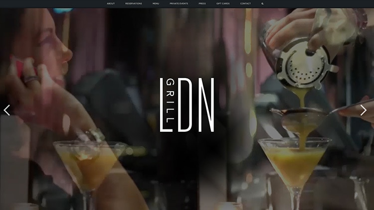 Website header design for LDN Grill website