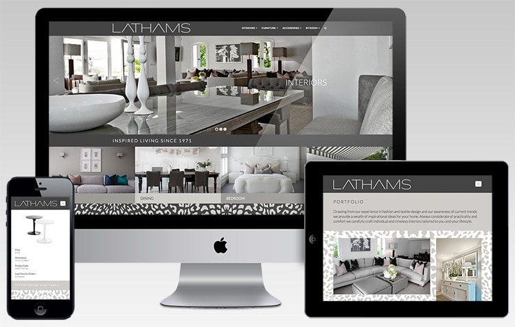Desktop, mobile and tablet displaying Lathams responsive website design