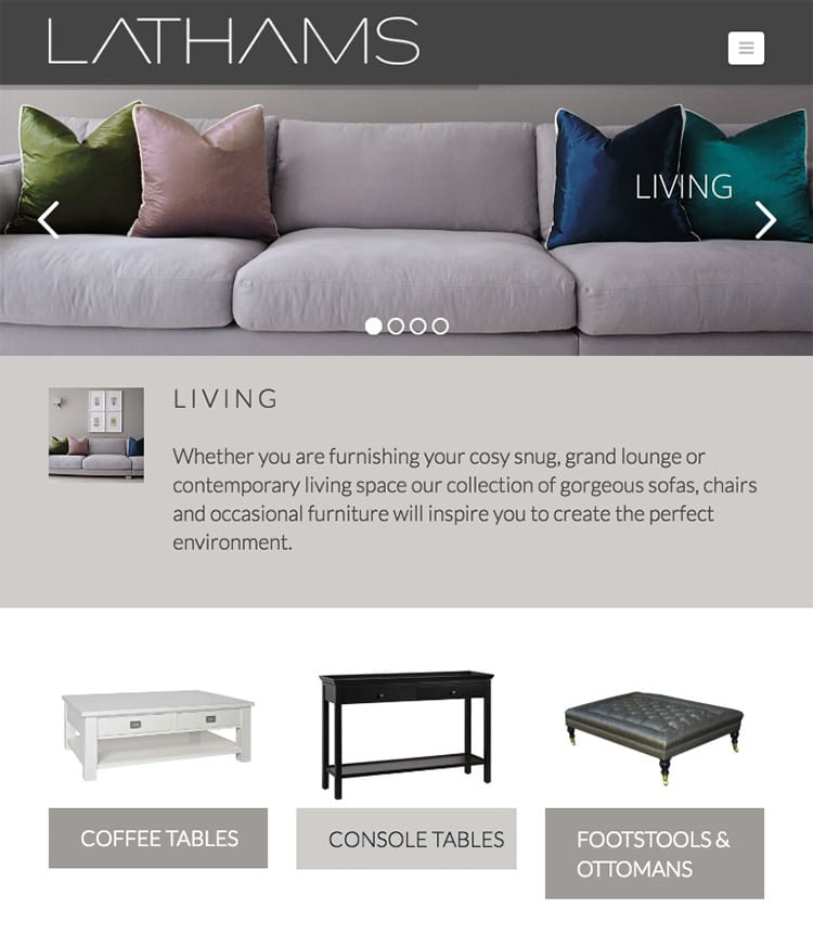 Homepage on a tablet flat website design for Lathams