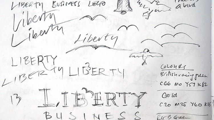 Conceptual sketches for Liberty Business in Stortford branding design