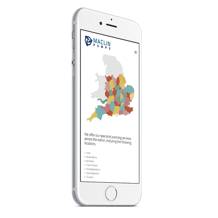 Hero shot of mobile phone displaying Maclin Pumps responsive website design