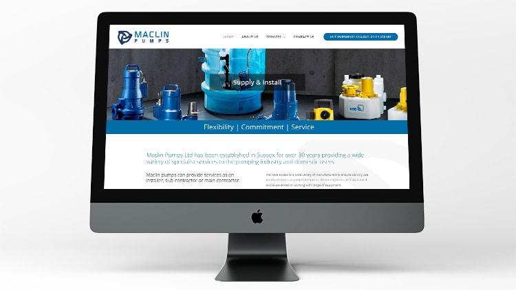 Desktop computer displaying the home page of Maclin pumps website design