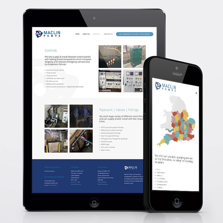 Mobile and tablet showing the responsive website design for Maclin Pumps
