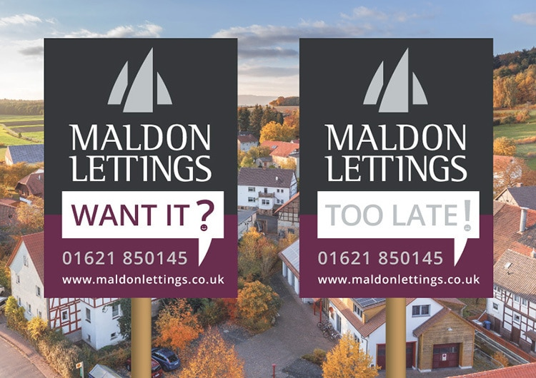 Maldon Lettings property for sale boards print design