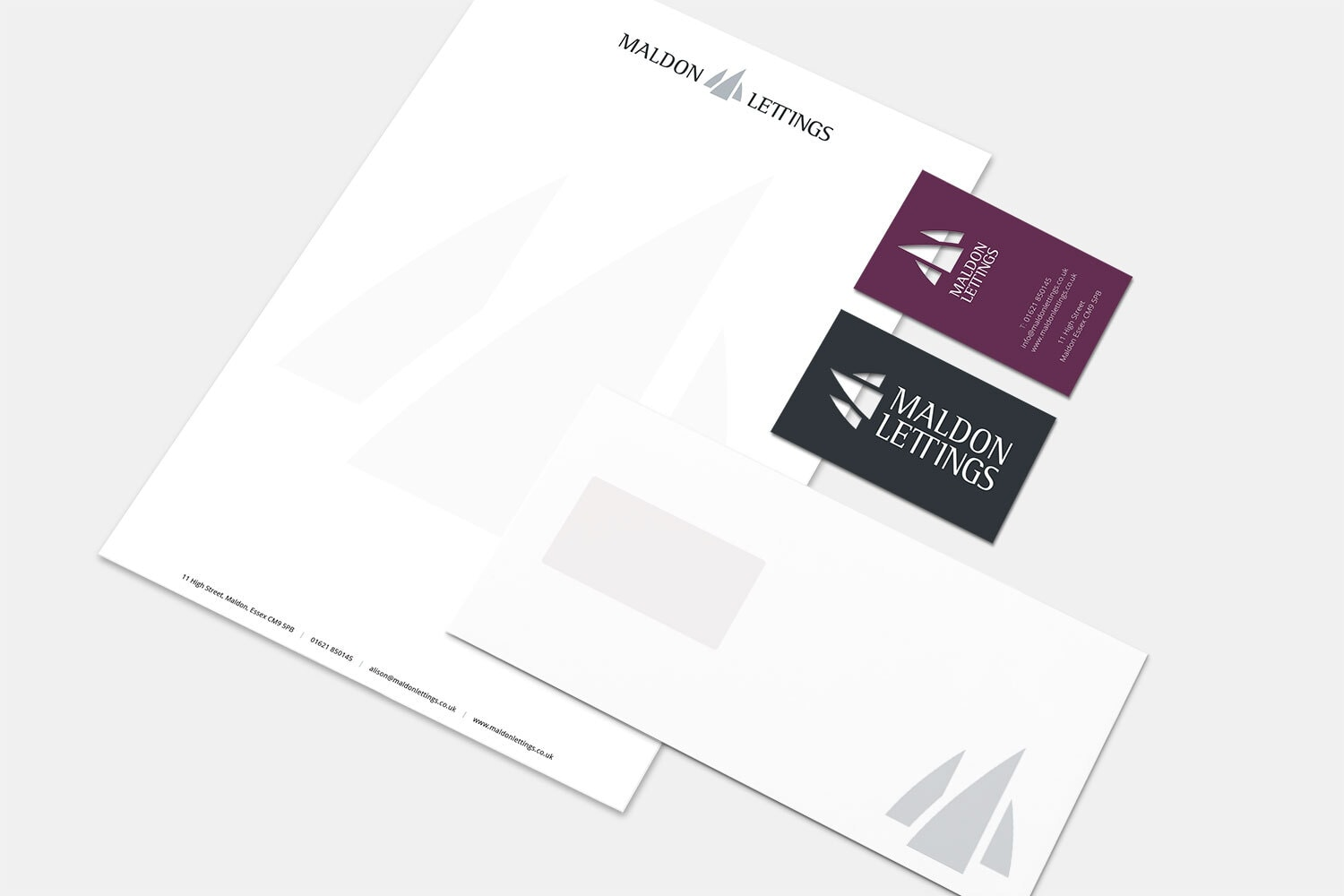 Maldon Lettings branding design corporate stationery pack
