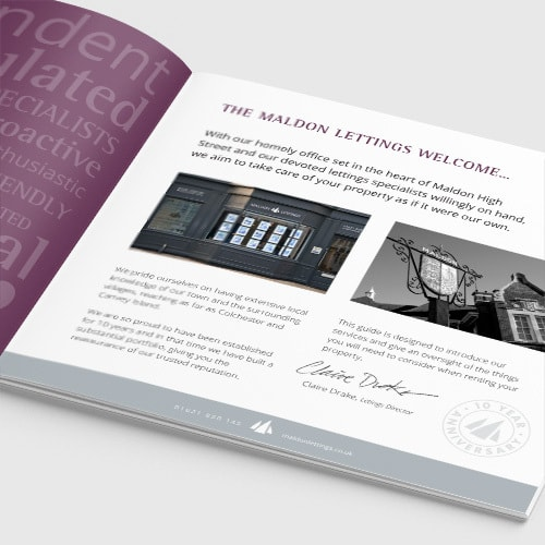 An open spread of Maldon Lettings brochure print design showing introduction page Thumbnail