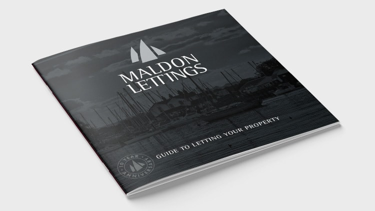 Front cover of Maldon Lettings brochure showing a picture of the docks