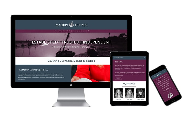 Responsive Maldon Lettings website design on Desktop, Tablet and Mobile