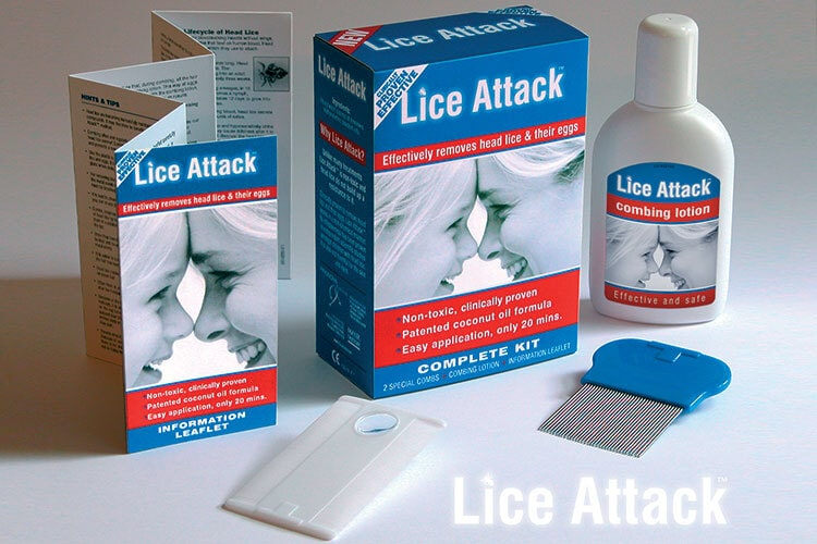 Lice Attack box, labels and leaflet design for Manx Healthcare