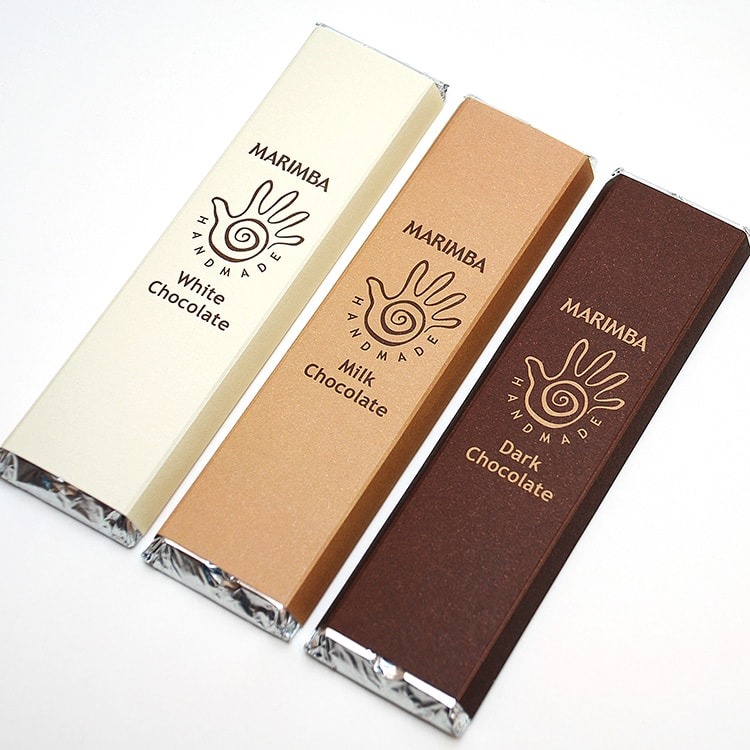 Close up of Marimba chocolate bars packaging design with new Marimba branding design