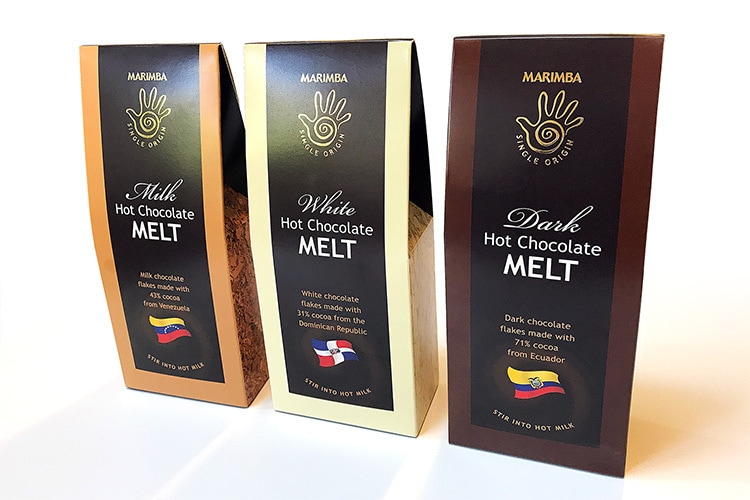 Marimba hot chocolate melt packaging design for different chocolates with a gold foil finish side view
