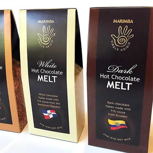 Marimba hot chocolate melt packaging design for different chocolates with a gold foil finish side view Thumbnail