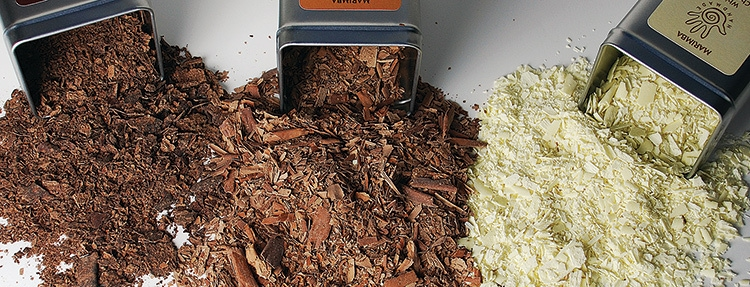 Marimba chocolate shavings out of tins with Marimba label design