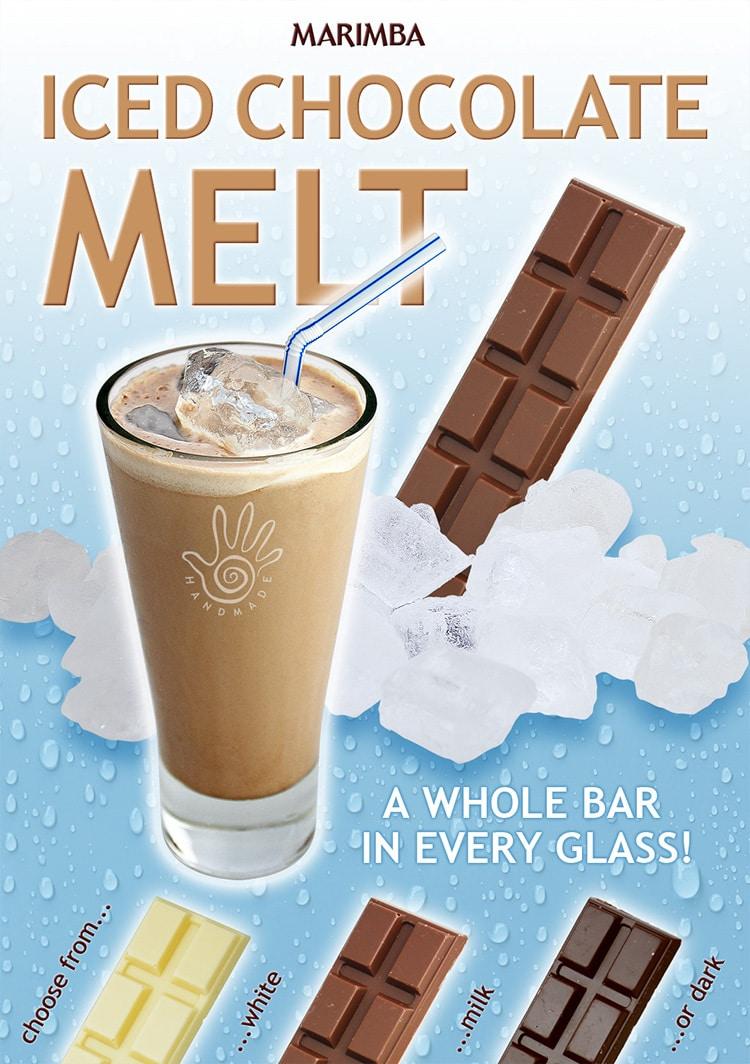 Promotion Design poster for Marimba's Ice Chocolate Melt