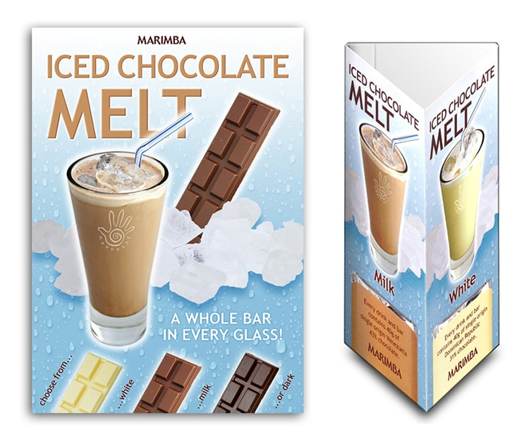 Promotion Design poster and table talkers for Marimba's Ice Chocolate Melt