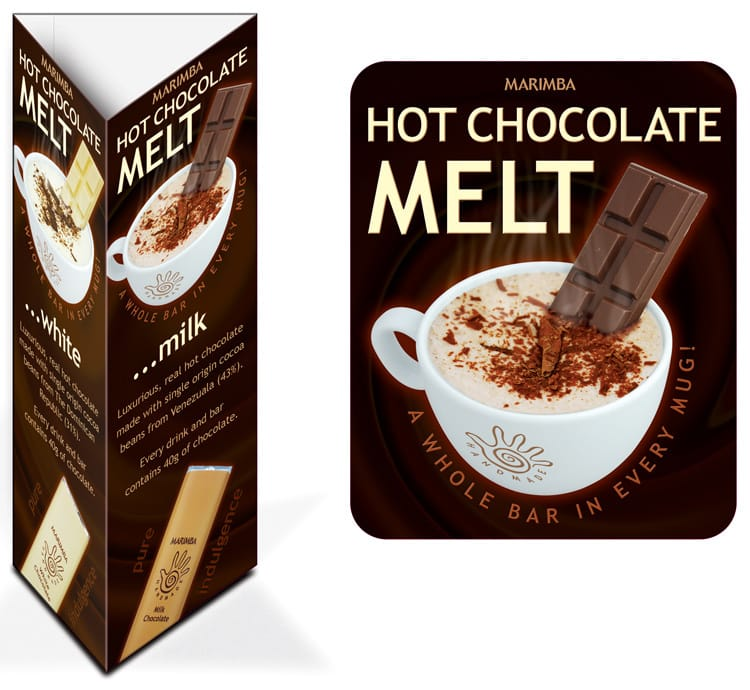 Promotion Design coaster and table talkers for Marimba's milk Chocolate Melt