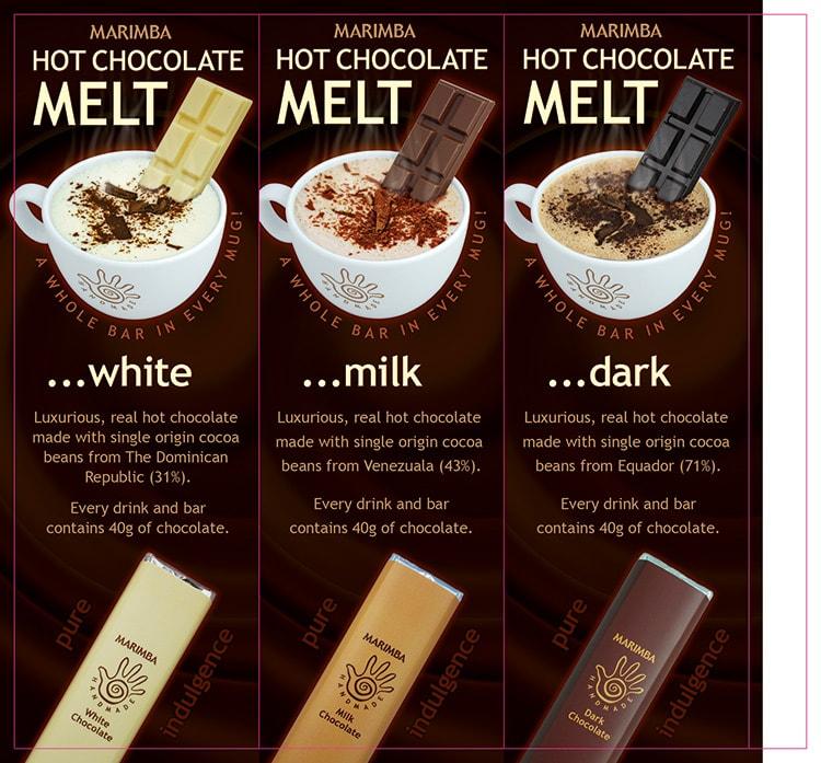 Flat artwork for Marimba chocolate table talker packaging net design