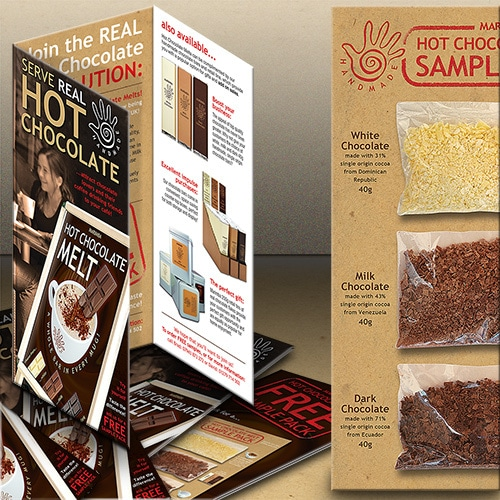 Hot chocolate sample pack packaging design with graphics and information for Marimba Thumbnail