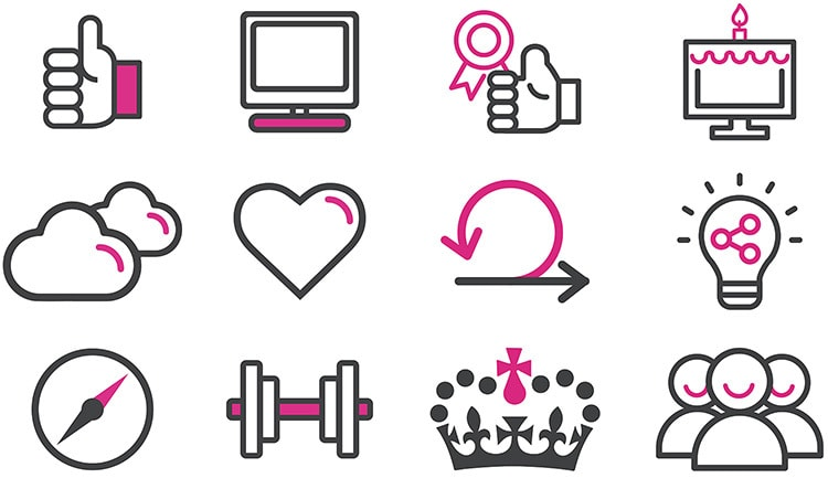 Icons and symbols designed for Methods Digital website
