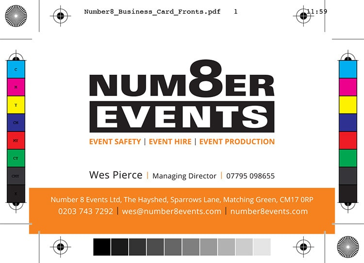 Number 8 Events front of business card artwork with bleed