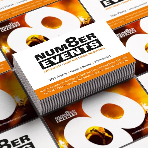 Number 8 Events branded business cards stacked Thumbnail