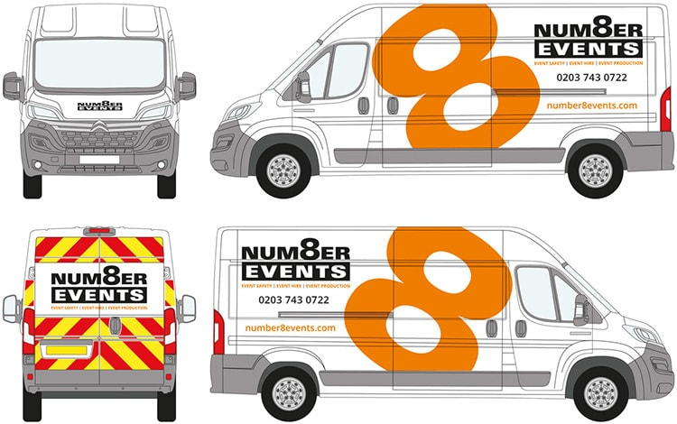 Van livery design artwork for Number 8 events vans branding