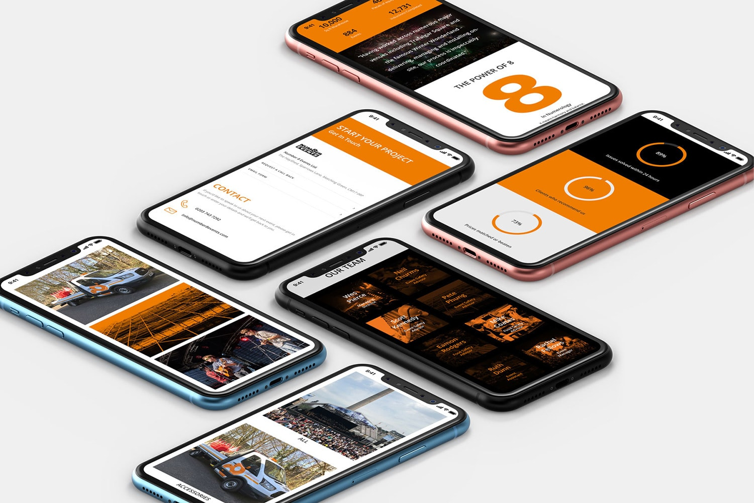 A group of mobile phones displaying pages from Number 8 Events responsive website design