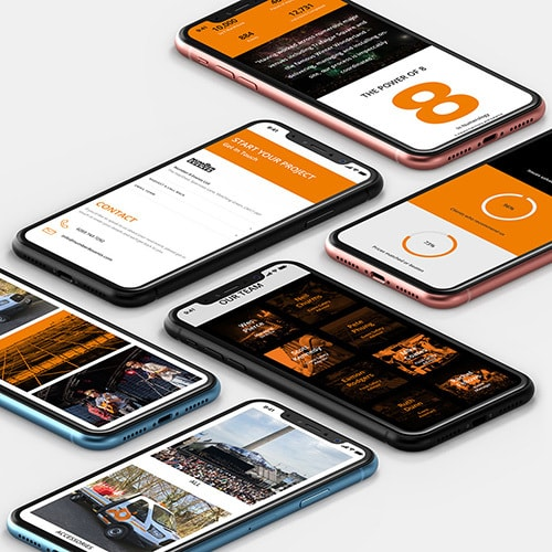 A group of mobile phones displaying pages from Number 8 Events responsive website design Thumbnail